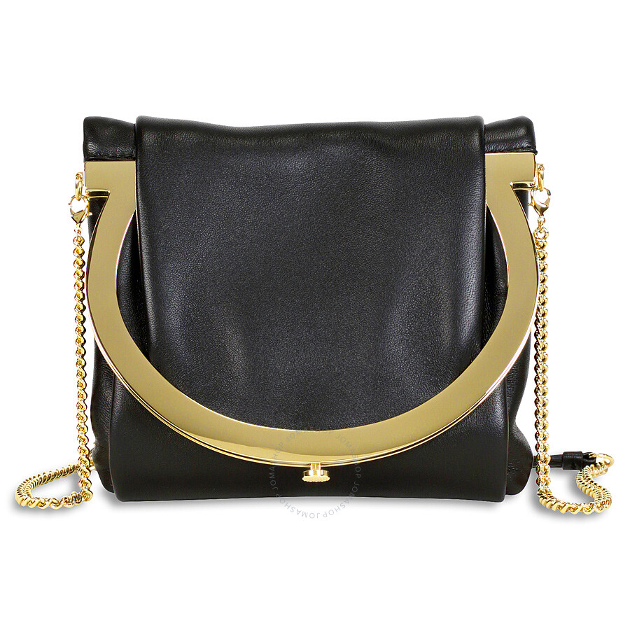 Salvatore Ferragamo Small Gancio Clutch - Black at Jomashop.com & JomaDeals.com