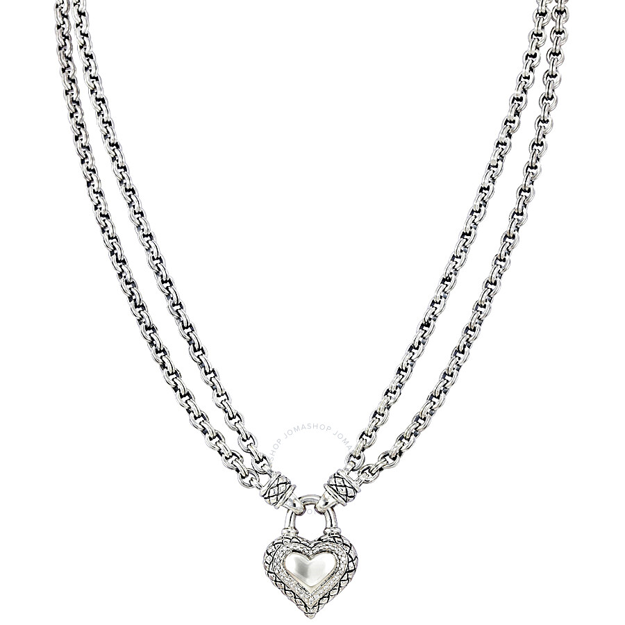 Scott Kay Double Signature Chain Sterling Silver Diamond Heart Necklace N1349SPADS18