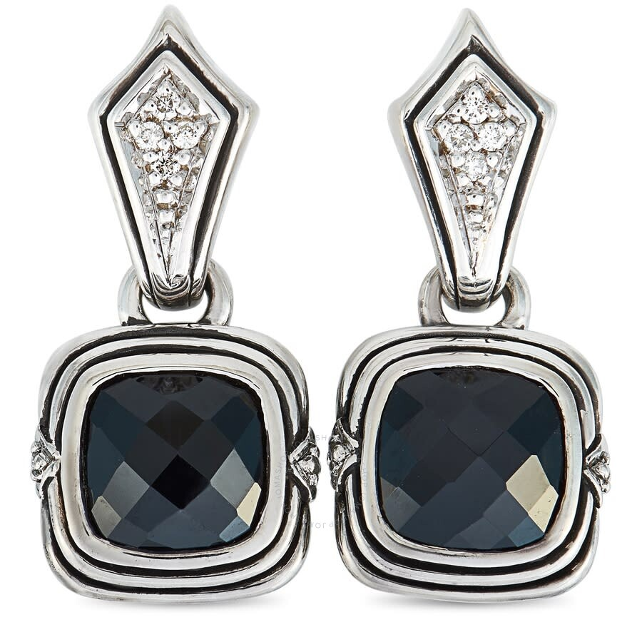 Scott Kay Sterling Silver 0.1ct Diamond Drop Onyx Earrings E1218SPAODS