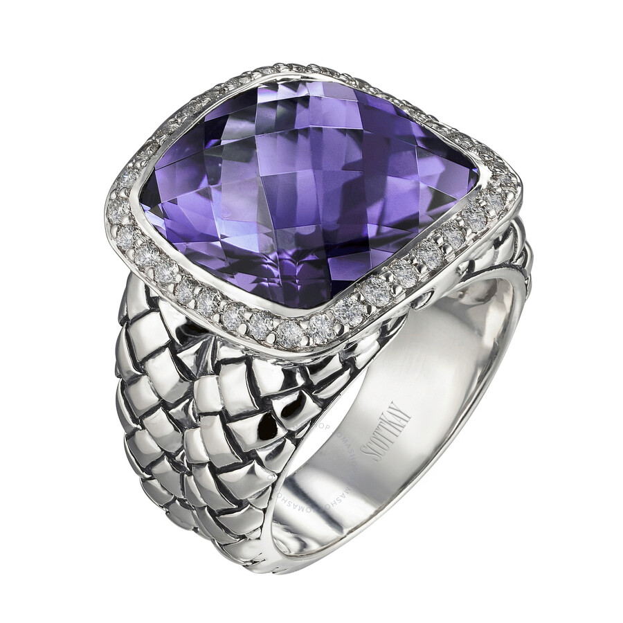 Scott Kay Sterling Silver Amethyst Diamond Basketweave Size 7 Ring R1375SPAADL-7