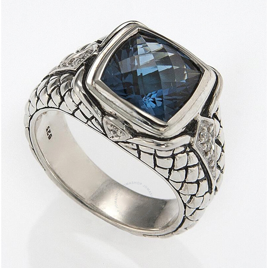 Scott Kay Sterling Silver Blue Topaz 0.07ct Diamond Basketweave Size 7 Ring R1211SPALBDS-7