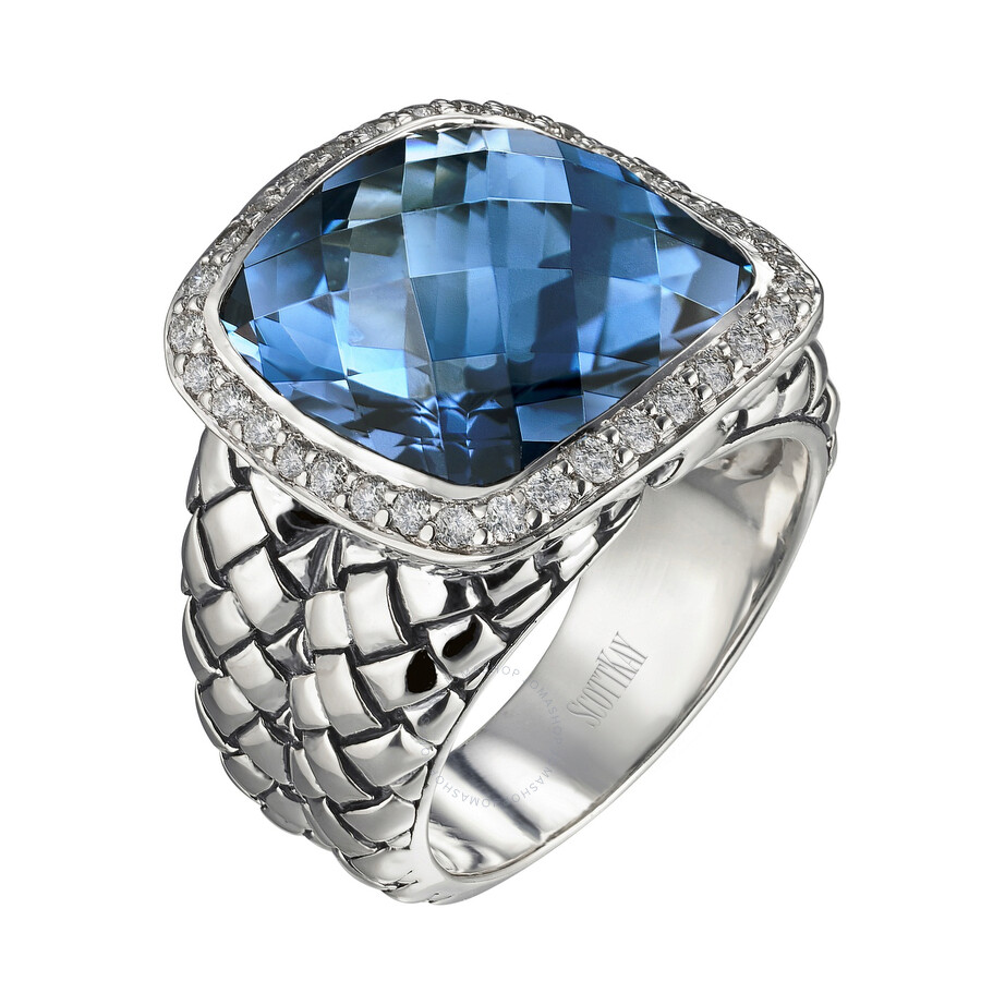 Scott Kay Sterling Silver Blue Topaz Diamond Basketweave Size 7 Ring R1375SPALBDL-7