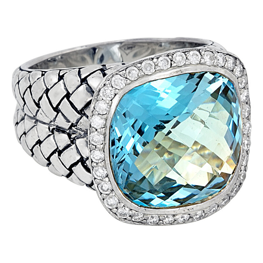 Scott Kay Sterling Silver Blue Topaz Diamond Basketweave Size 8 Ring R1375SPALBDL-8