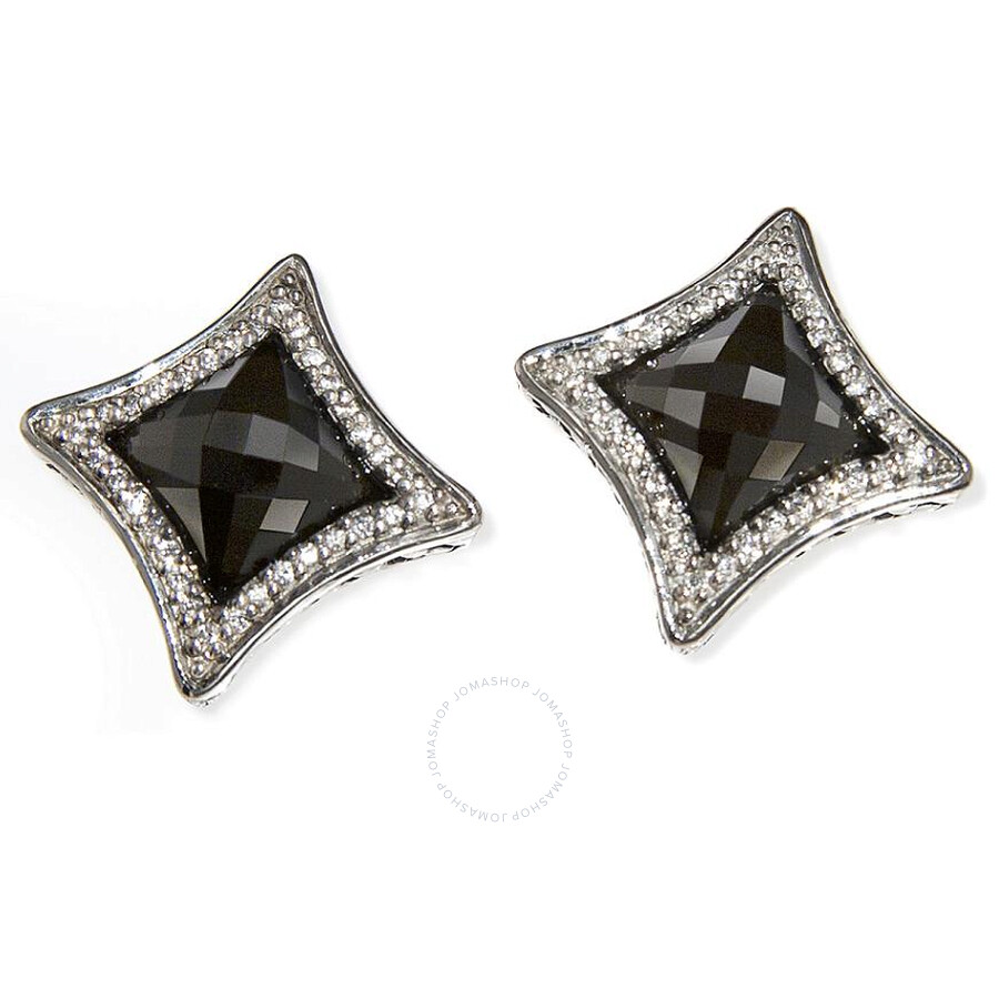 Scott Kay Sterling Silver Diamond Center Onyx Earrings E1329SPAODM