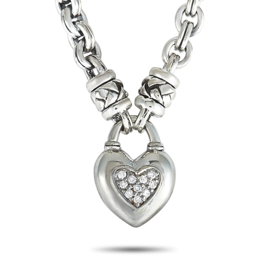 Scott Kay Sterling Silver Diamond Heart Chain Necklace N1062SPAD18