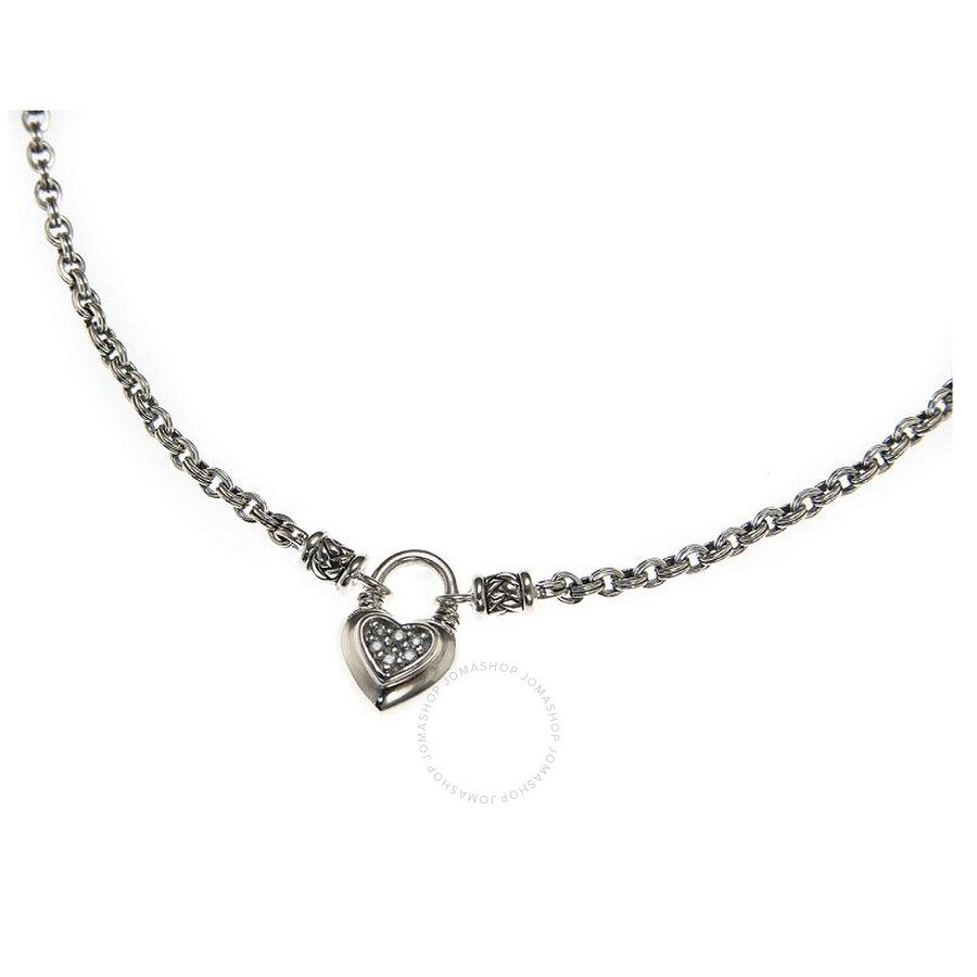 Scott Kay Sterling Silver Diamond Heart Chain Necklace N1063SPAD18
