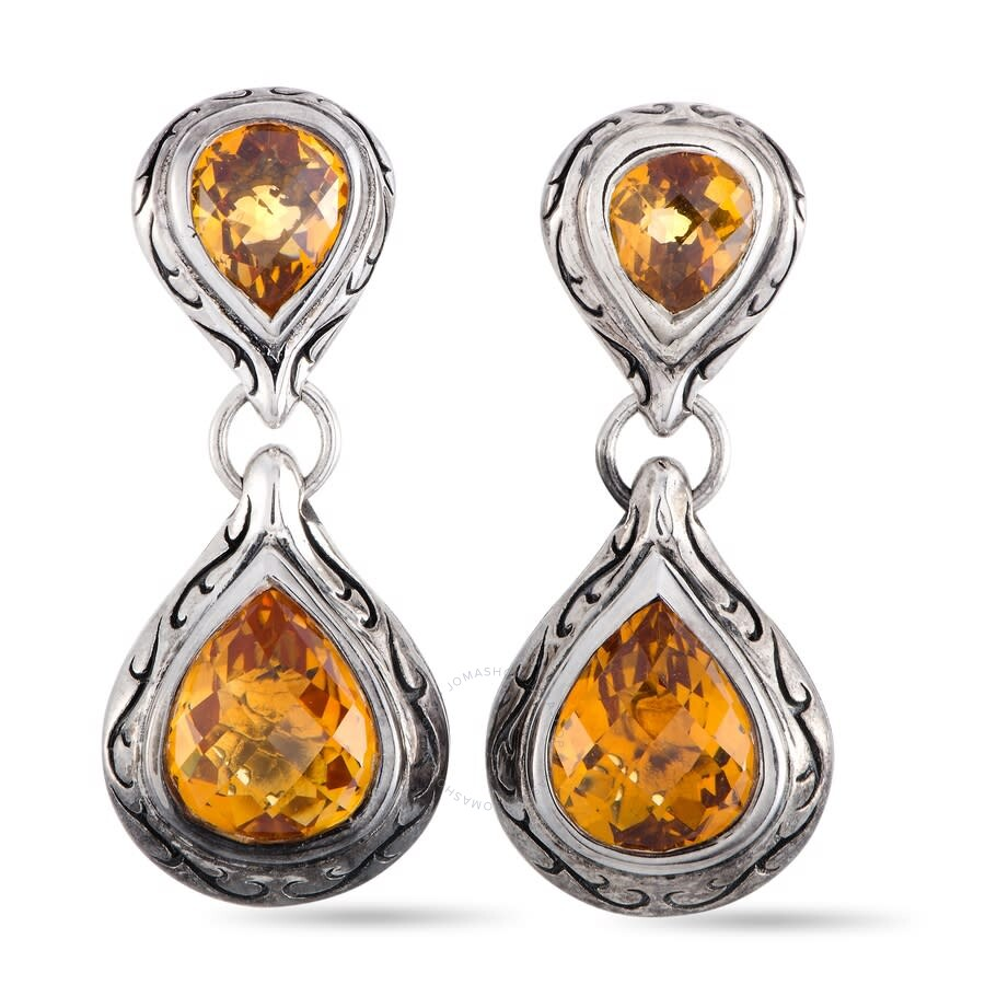 Scott Kay Sterling Silver Drop Citrine Earrings E1643SPACM