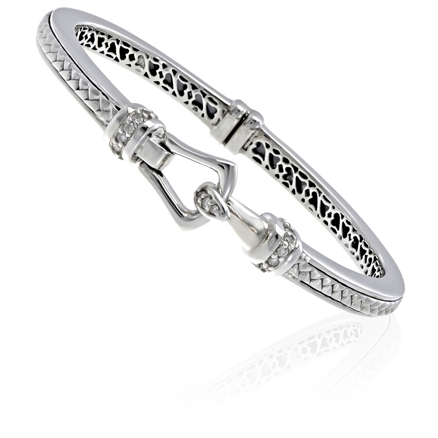 Scott Kay Sterling Silver Medium Thin Basketweave Diamond Bracelet B1013SMADM