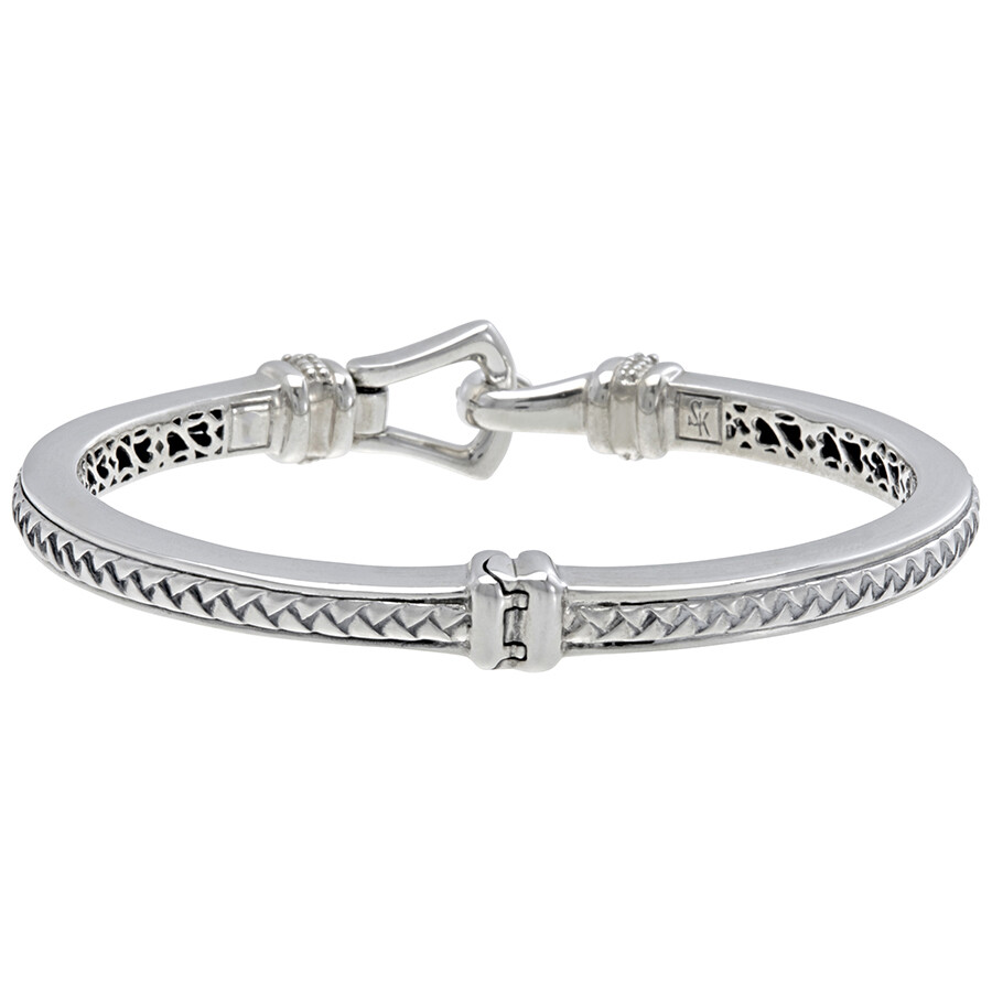 silver bangle diamond cut kaystore bracelet ct kay tw hover to sterling zoom en round zm mv bangles