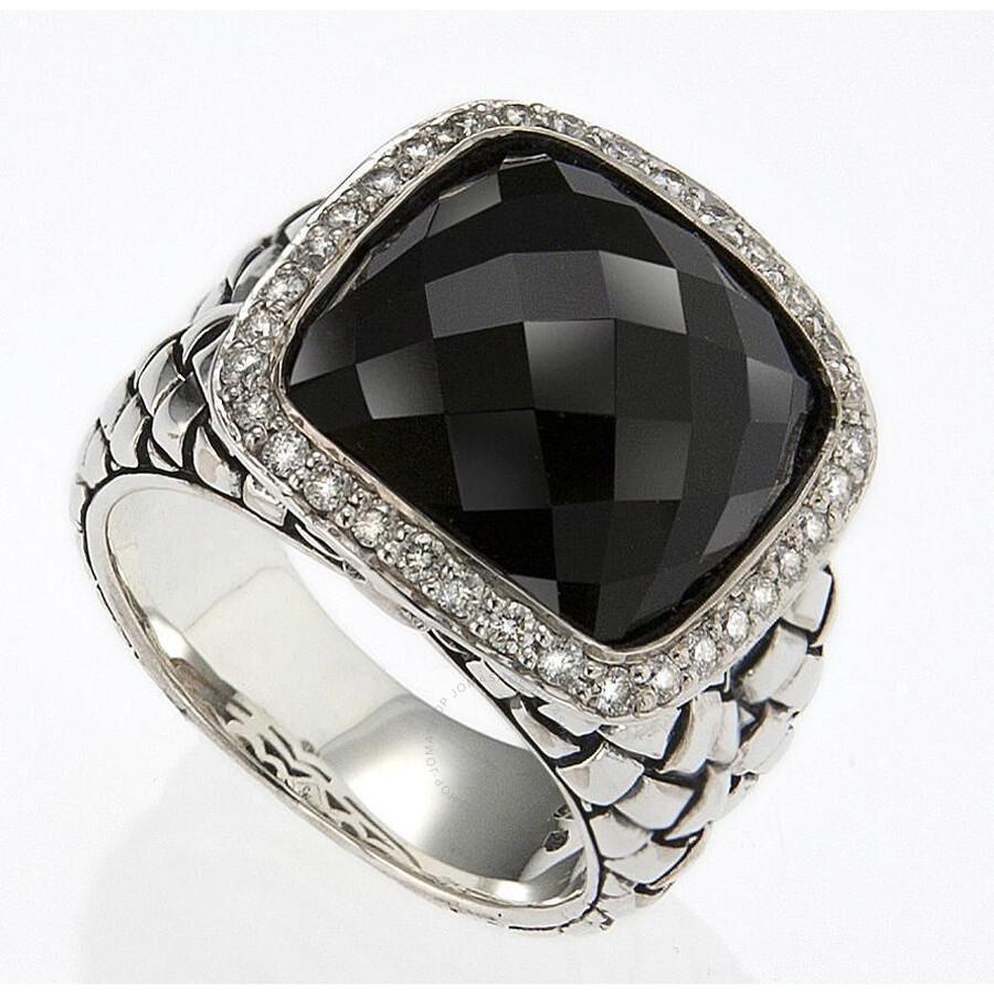 Scott Kay Sterling Silver Onyx .44ct diamond Basketweave Size 7 Ring R1375SPAODL-7