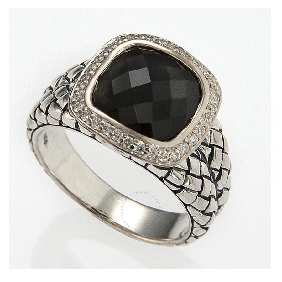 Scott Kay Sterling Silver Onyx Diamond Basketweave Size 7.5 Ring R1375SPAODM-7.5