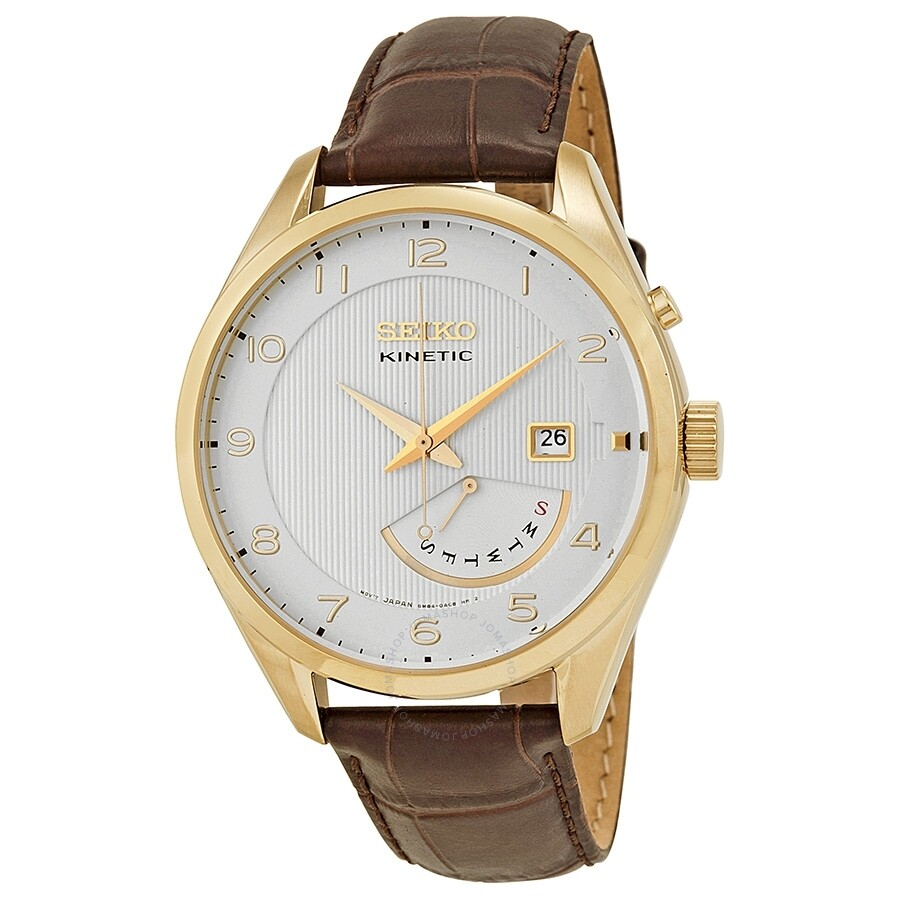 Open Box - Seiko Kinetic White Dial Brown Leather Mens Watch SRN052