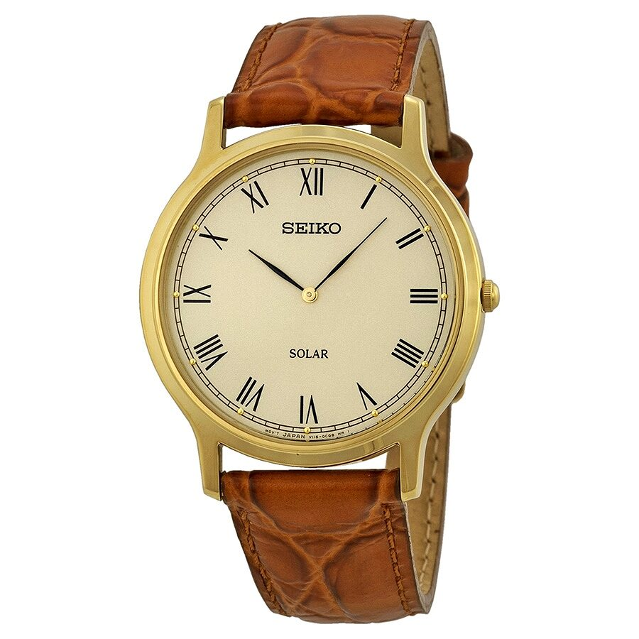 Open Box - Seiko Solar Off White Dial Brown Leather Mens Watch SUP876