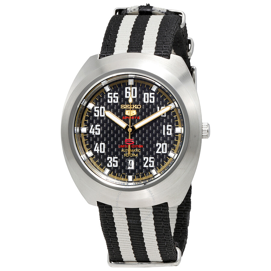 seiko male seiko 5 black dial limited edition automatic mens watch srpa93k1