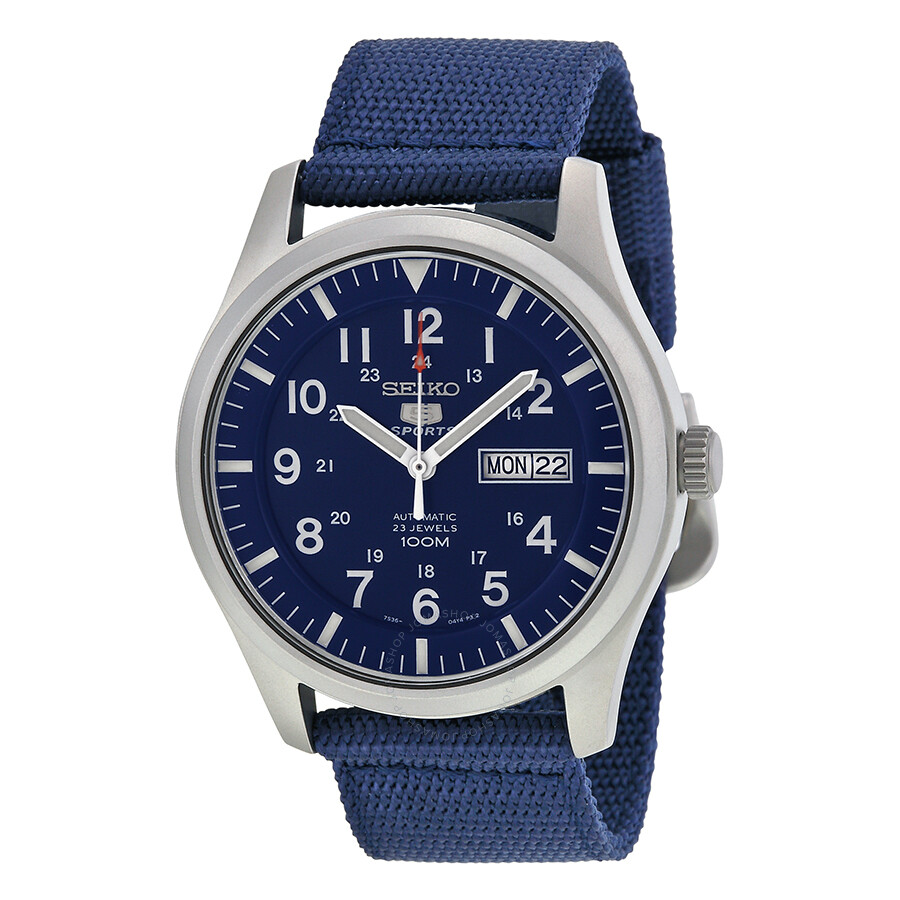 seiko 5 sport automatic navy blue canvas men 39 s watch. Black Bedroom Furniture Sets. Home Design Ideas