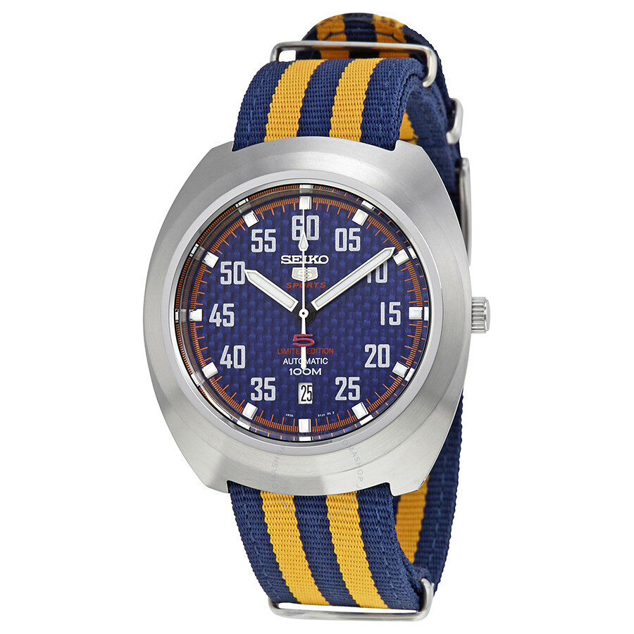 seiko male seiko 5 sports blue dial nylon mens watch srpa91k1