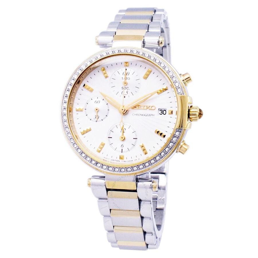 Seiko Chronograph Crystal White Dial Ladies Watch SNDV42P1