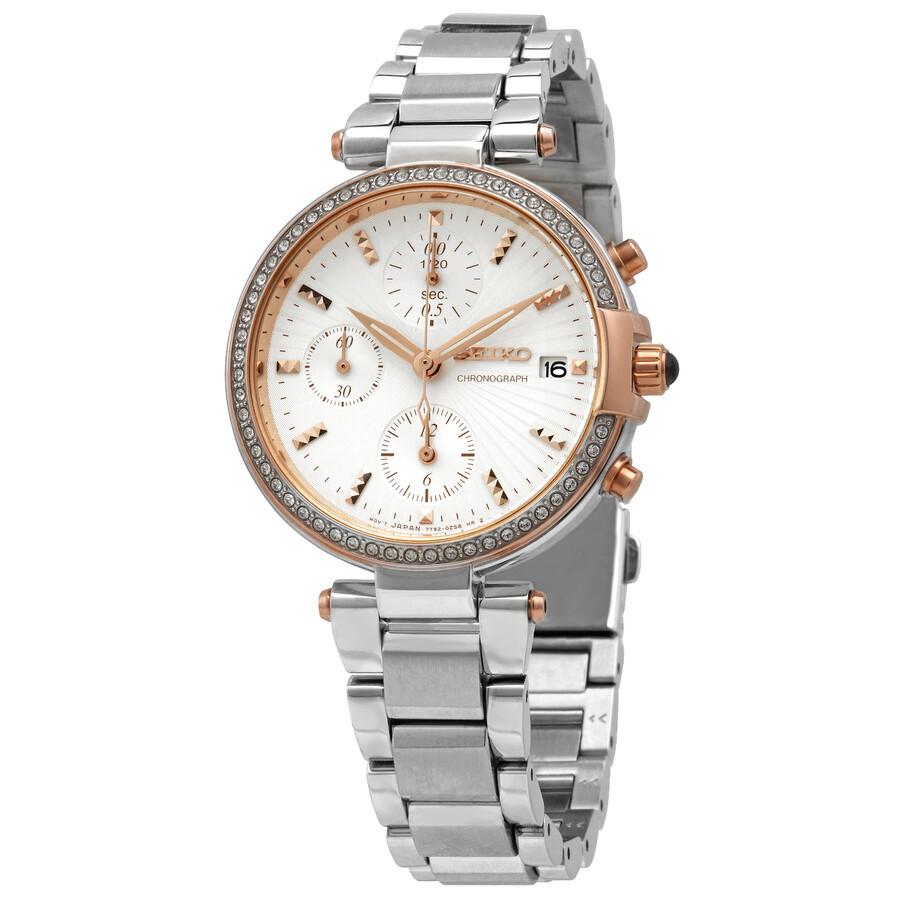 Seiko Chronograph Crystal White Dial Ladies Watch SNDV44P1