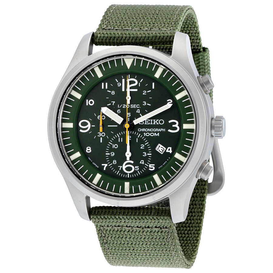 seiko chronograph green dial green nylon men 39 s watch. Black Bedroom Furniture Sets. Home Design Ideas