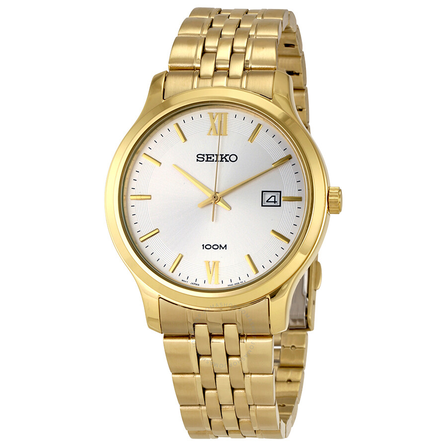 Seiko Classic White Dial Mens Gold Tone Stainless Steel Watch SUR224P1