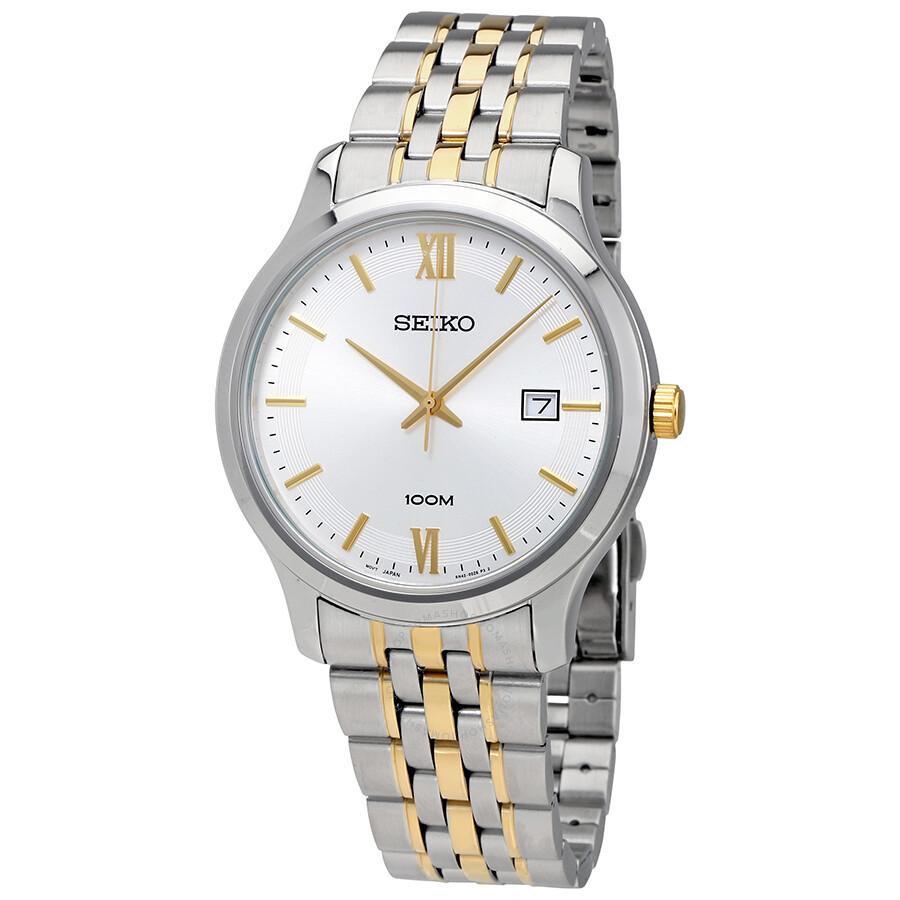 Seiko Classic White Dial Mens Two Tone Watch SUR223P1