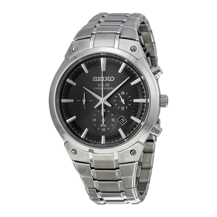 seiko male 261215 seiko core chronograph black dial stainless steel mens watch ssc317