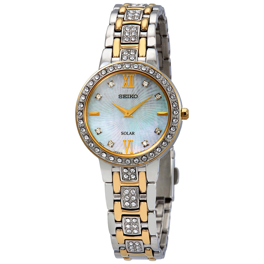 Seiko Core Solar Crystal Mother of Pearl Dial Ladies Watch SUP360
