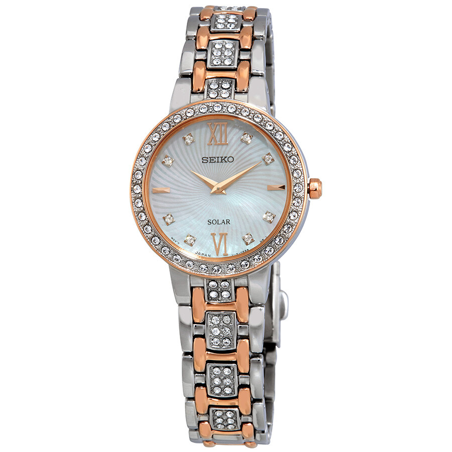 Seiko Core Solar Crystal Mother of Pearl Dial Ladies Watch SUP362