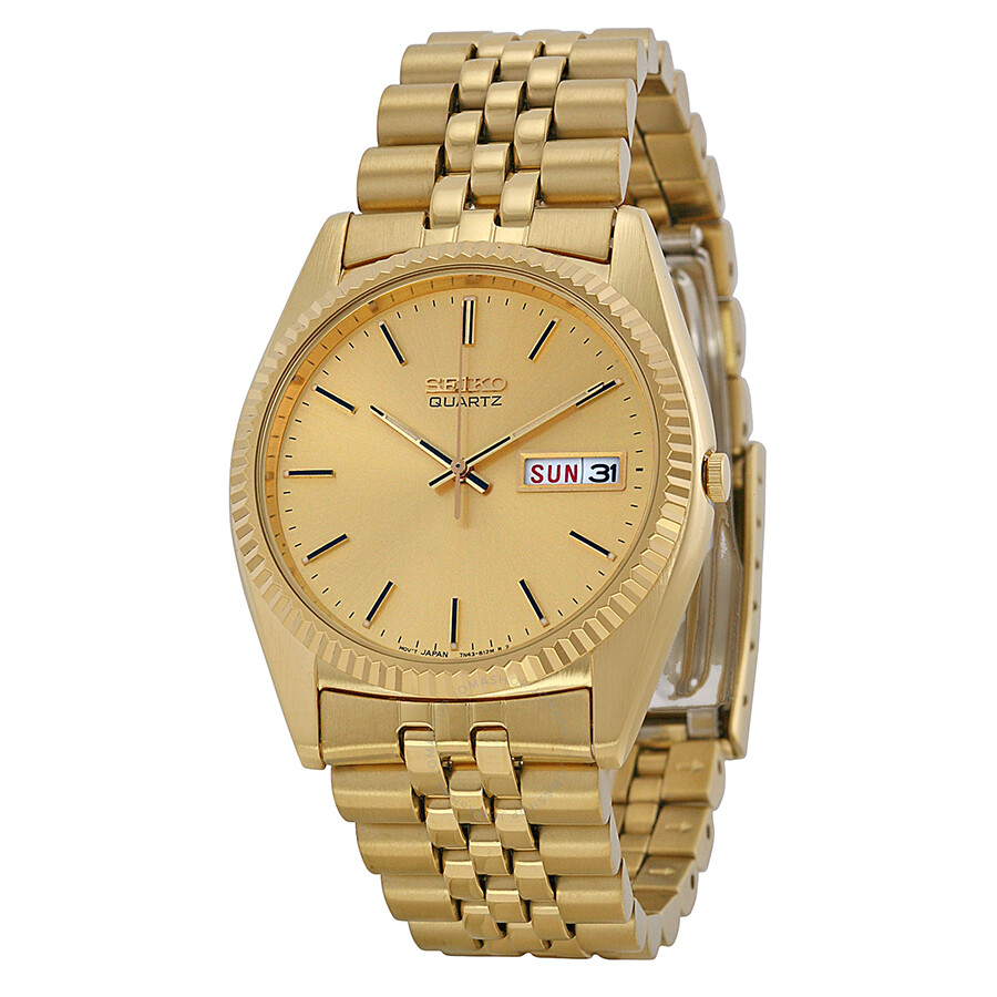 seiko day and date dress gold dial men 39 s watch sgf206. Black Bedroom Furniture Sets. Home Design Ideas