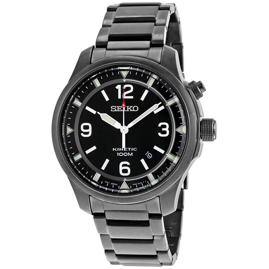 Seiko kinetic black dial black ion plated men 39 s watch ska687 kinetic seiko watches jomashop for Movado kinetic