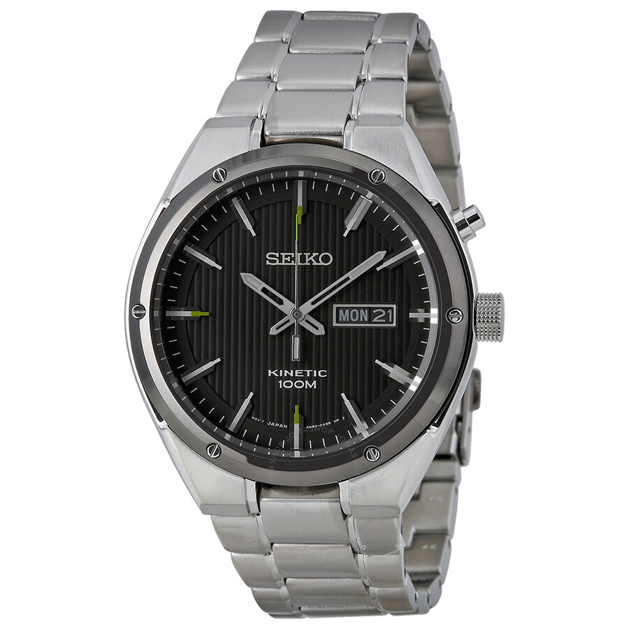 Seiko kinetic black dial stainless steel watch smy151 stainless steel seiko watches jomashop for Movado kinetic