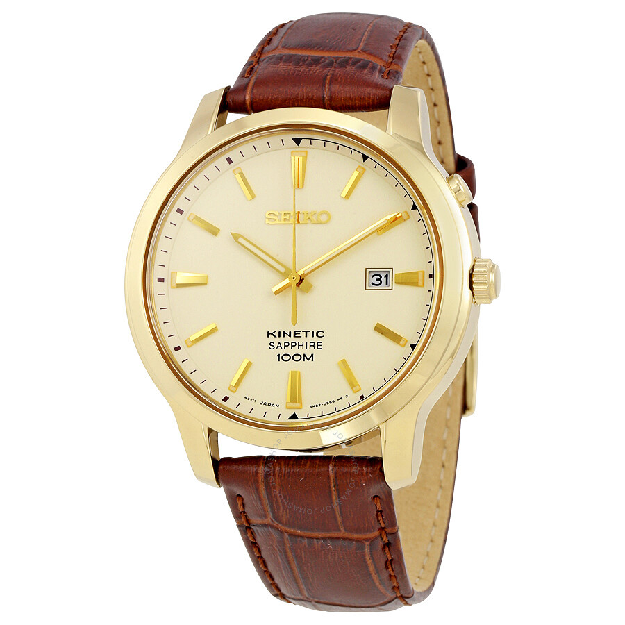 Seiko kinetic cream dial gold tone stainless steel men 39 s watch ska744 kinetic seiko for Seiko kinetic watches