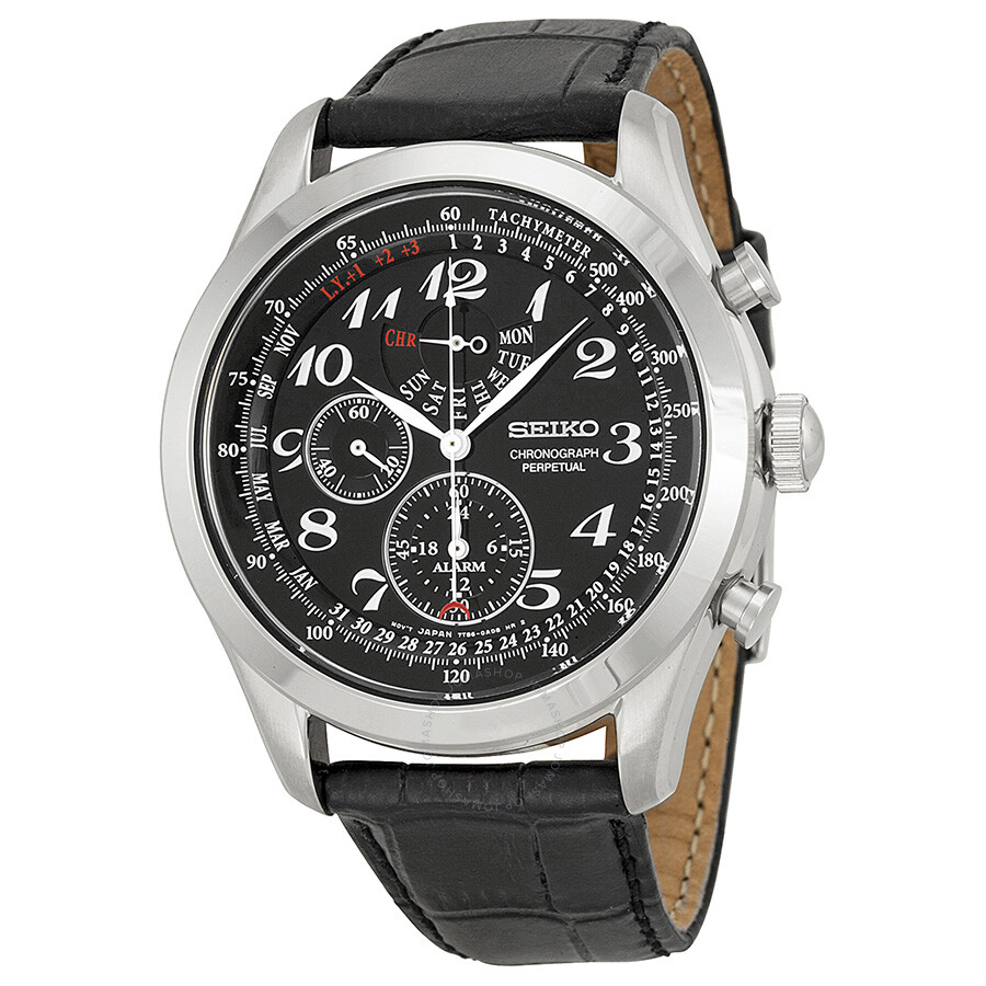 seiko neo classic perpetual chronograph black dial men 39 s. Black Bedroom Furniture Sets. Home Design Ideas