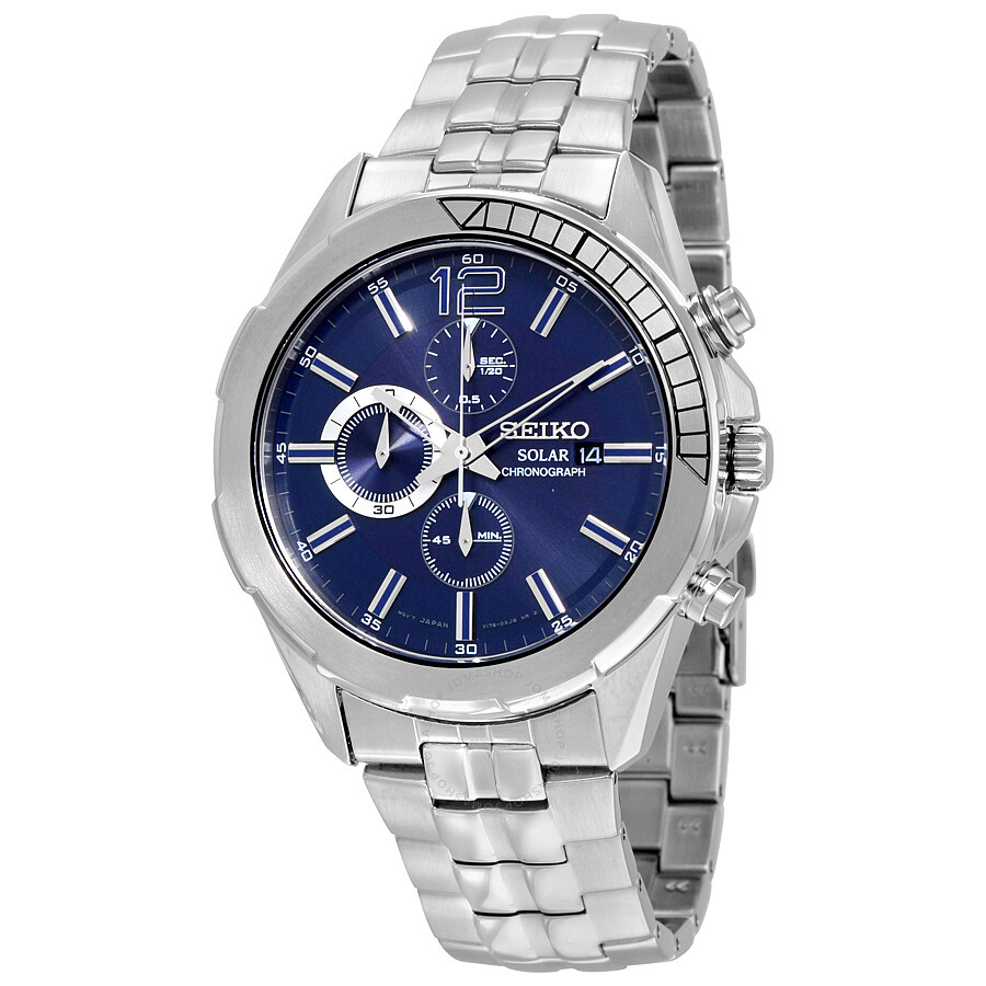seiko male 261361 seiko recraft solar chronograph blue dial stainless steel mens watch ssc381