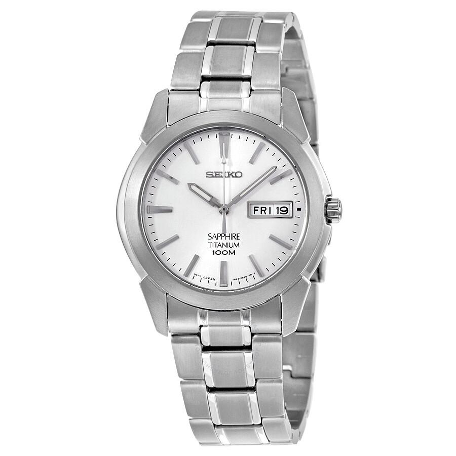 Seiko Sapphire White Dial Titanium Mens Watch SGG727P1