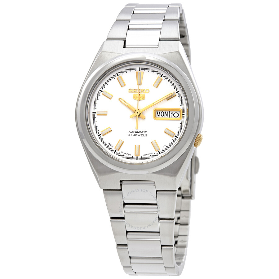 Seiko Series 5 Automatic Date-Day White Dial Mens Watch SNKC47J1