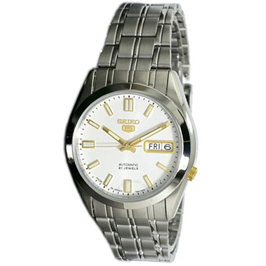 Seiko Series 5 Automatic Date-Day White Dial Mens Watch SNKE81J1