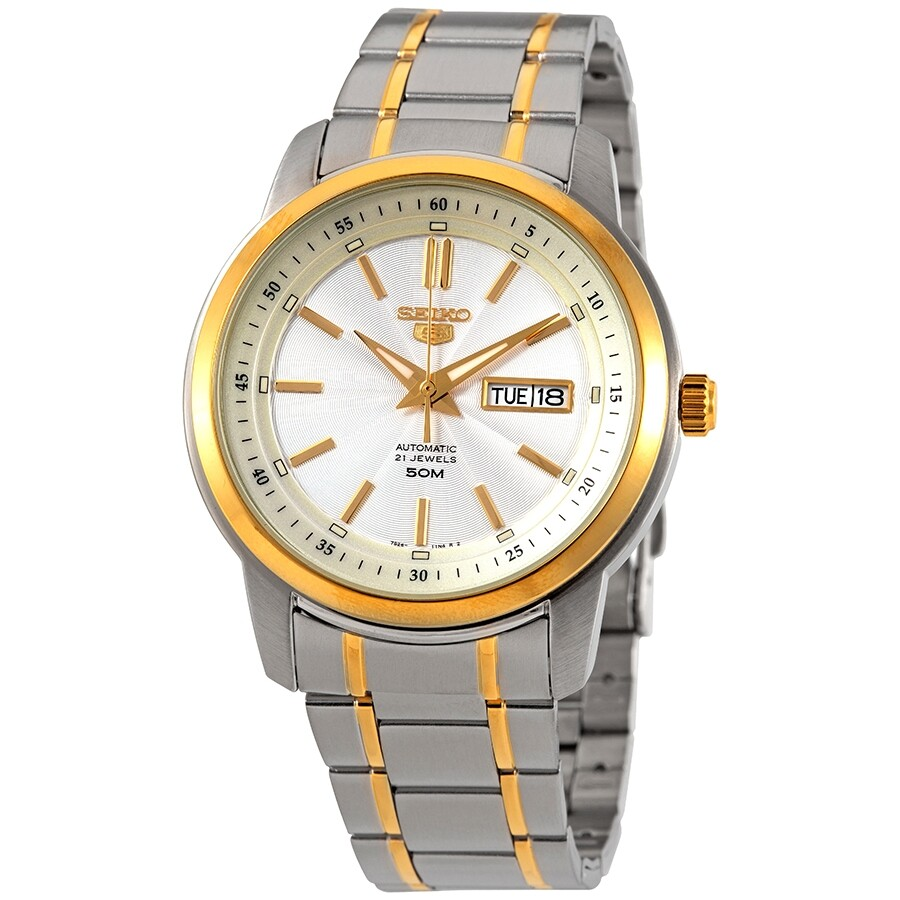Seiko Series 5 Automatic Silver Dial Two-tone Mens Watch SNKM92