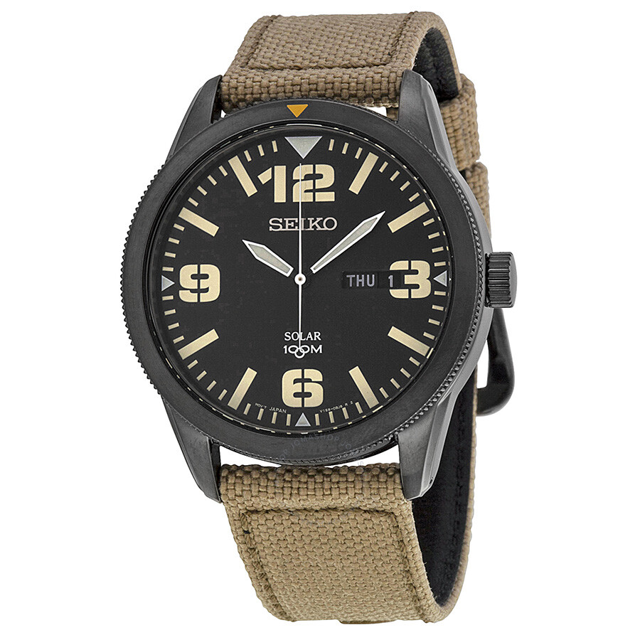 Seiko Solar Black Dial Beige Nylon Men's Watch SNE331 ...