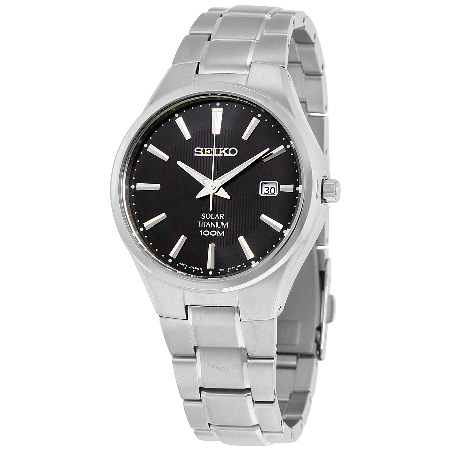 Seiko Solar Black Dial Titanium Mens Watch SNE377