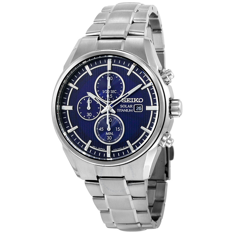 Seiko Solar Chronograph Blue Dial Titanium Mens Watch SSC365