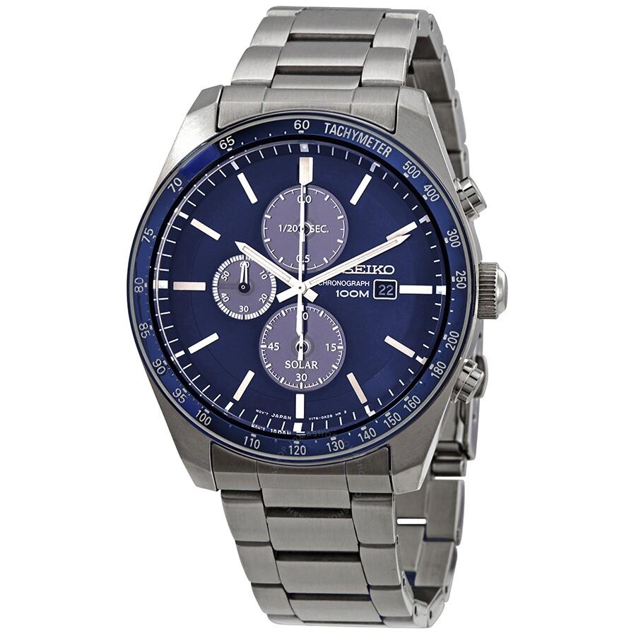 Seiko Solar Chronograph Quartz Blue Dial Mens Watch SSC719