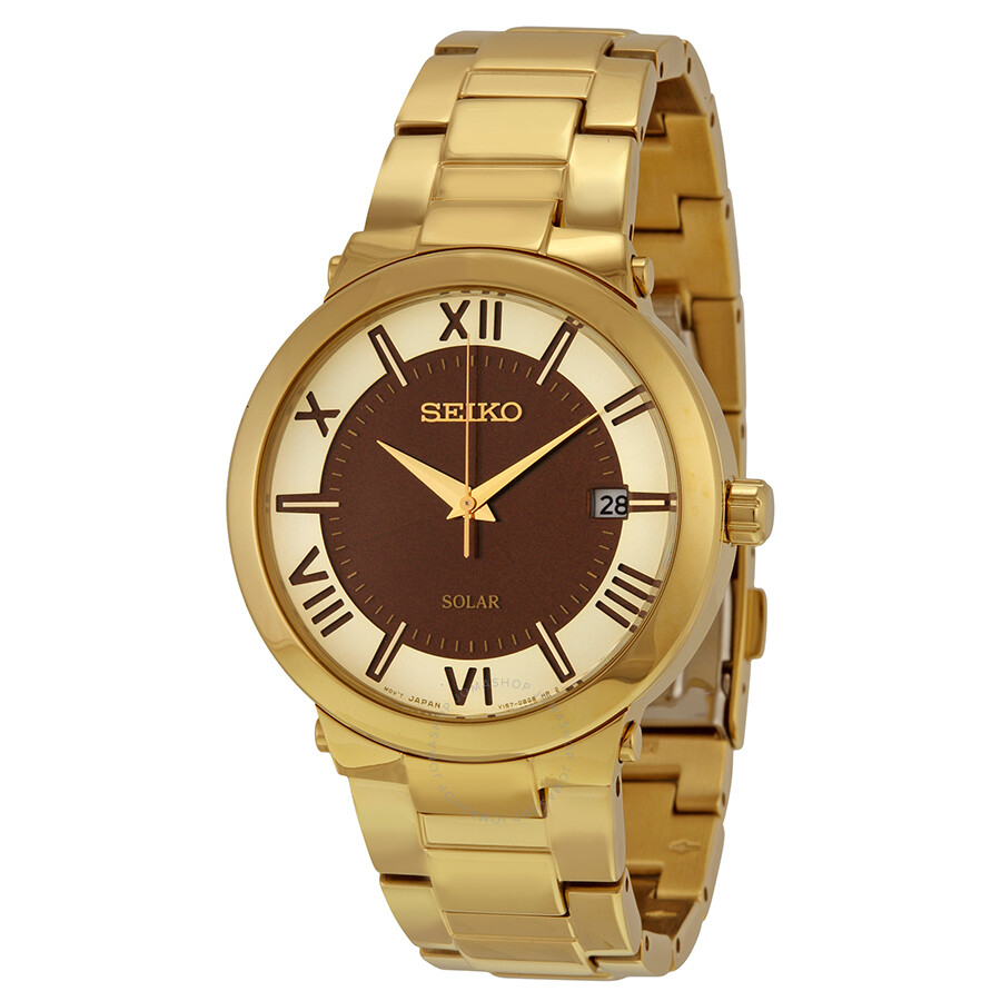Seiko Solar Gold and Brown Dial Mens Watch SNE884