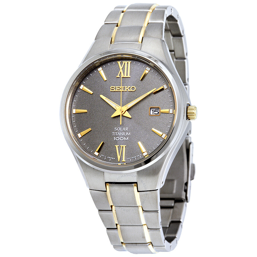 Seiko Solar Grey Dial Two-tone Bracelet Mens Watch SNE409