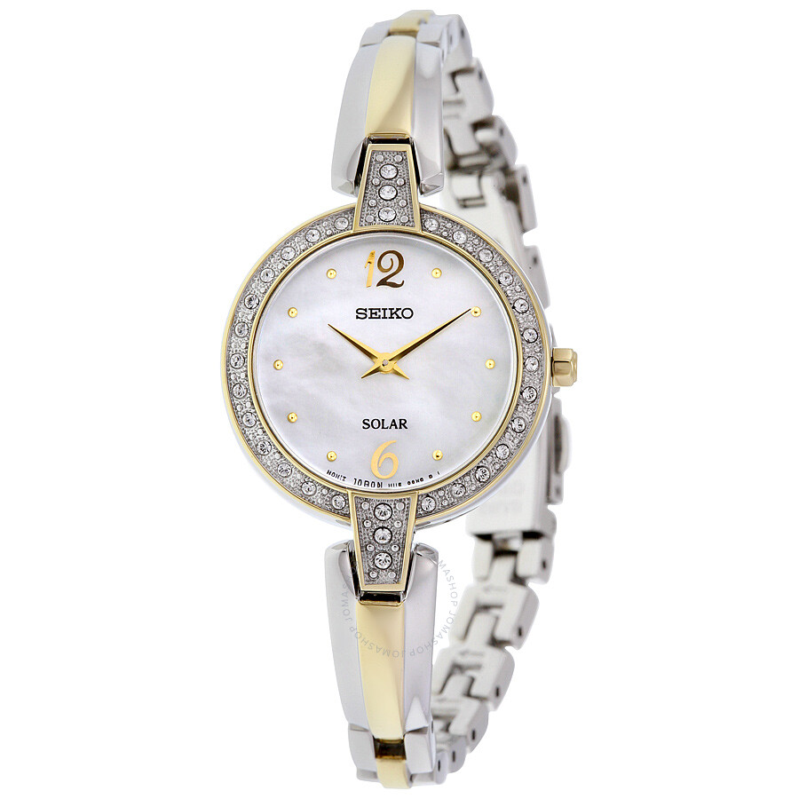Seiko Solar Mother of Pearl Dial Two-tone Ladies Watch SUP288