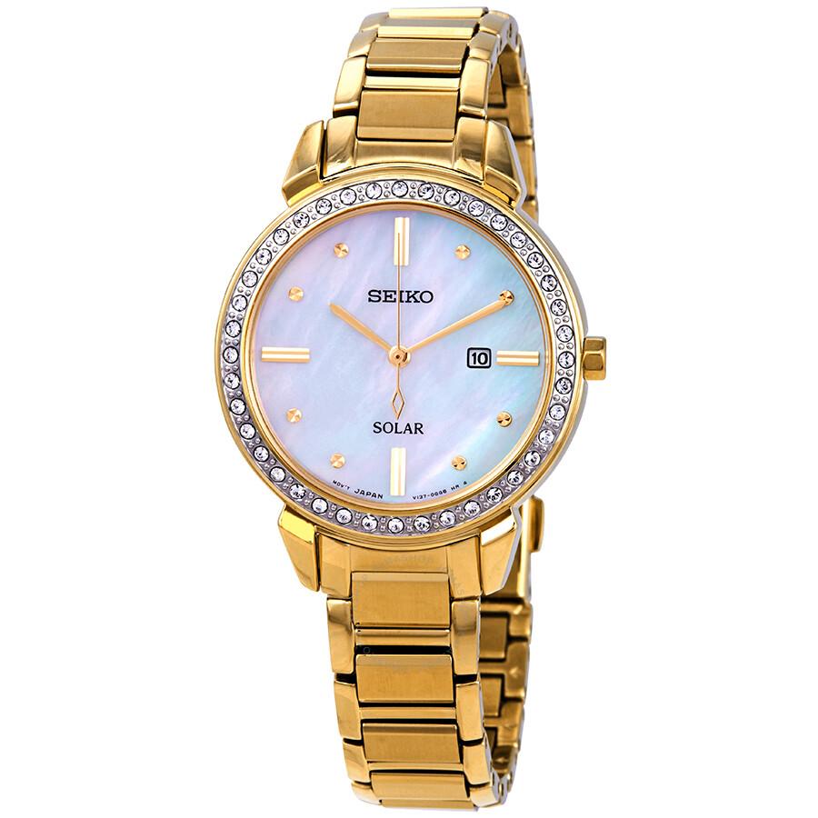 Seiko Solar Swarovski Crystal Mother of Pearl Ladies Watch SUT330