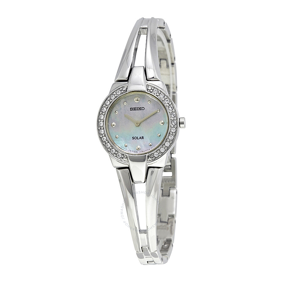 Seiko Solar Tressia Mother of Pearl Dial Stainless Steel Ladies Watch SUP231