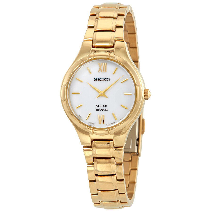 Seiko Solar White Dial Ladies Watch SUP282