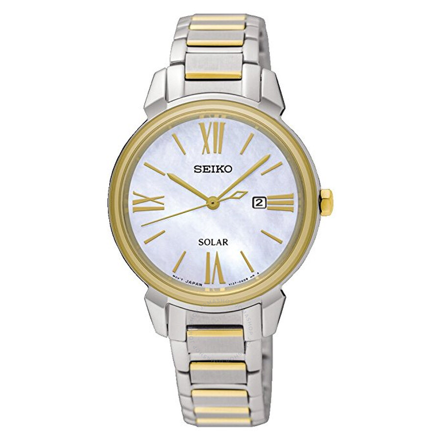Seiko Solar White Mother of Pearl Dial Ladies Watch SUT324