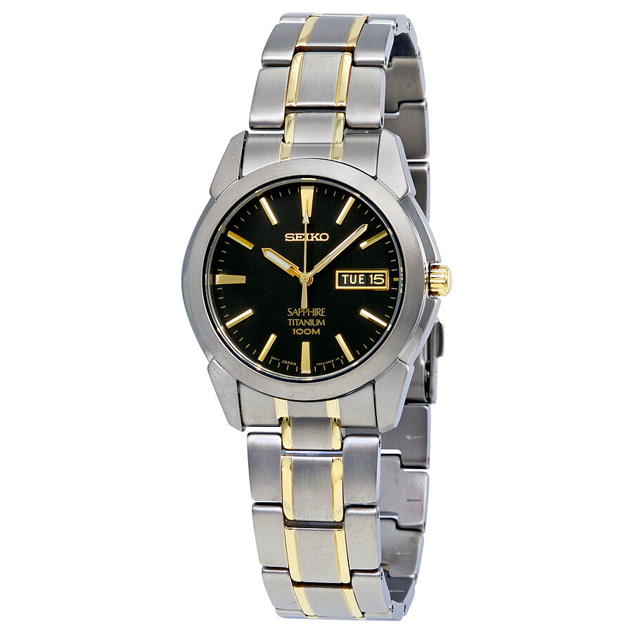 Seiko two tone titanium black dial men 39 s watch sgg735 titanium seiko watches jomashop for Titanium watches